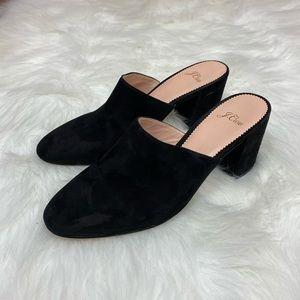 J. Crew Black Velvet Pointed Toe Heeled Mules